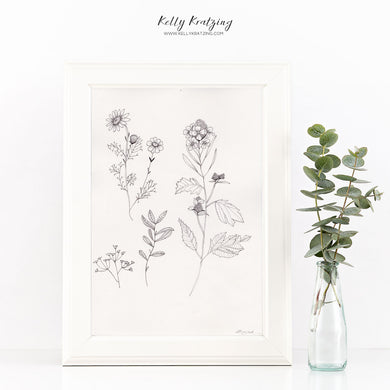 ORIGINAL Dandelion Artwork - pen and ink drawing