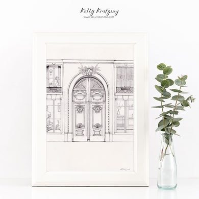 ORIGINAL Parisian House Artwork - pen and ink drawing