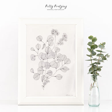 ORIGINAL Tiny Leaves Artwork - pen and ink drawing