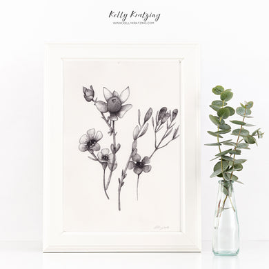 ORIGINAL Wildflower Artwork - pen and ink drawing