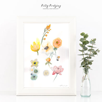 ORIGINAL Yellow Floral Artwork - watercolour painting