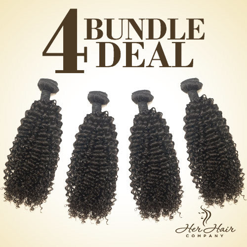 Brazilian Kinky Curly Hair 4 Bundle Deal
