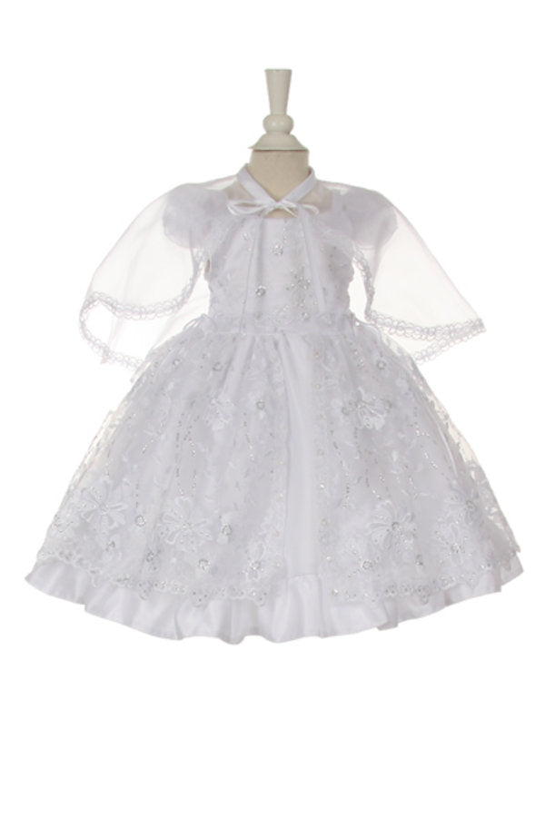 03cf9f53eed0f Baby Girls White Flower Sequins Bolero Baptism Christening Dress (Style  #BPTK56A)