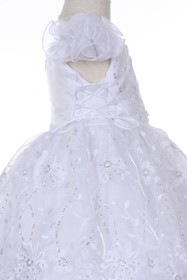 Baby Girls White Flower Sequins Bolero Baptism Christening Dress Style #BPTK56A