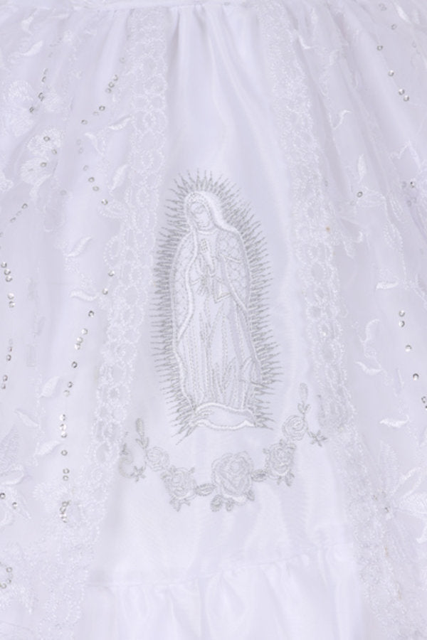 7cff082967a ... Girls White Virgin Mary Embroidered Sheer Cape Baptism dress BPTK56 ...