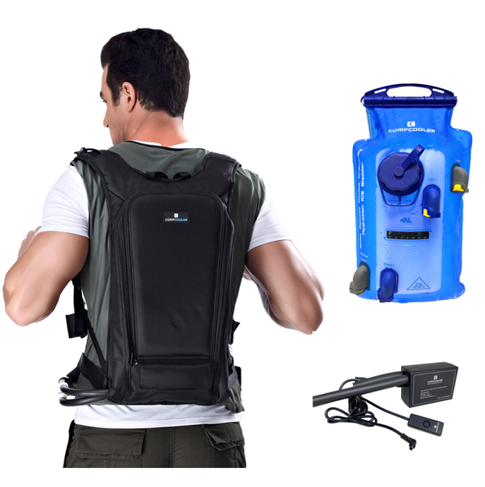 COMPCOOLER Backpack ICE Water Hydration Cooling System 4.0 L Dual Chambers Bladder ON/OFF Mode