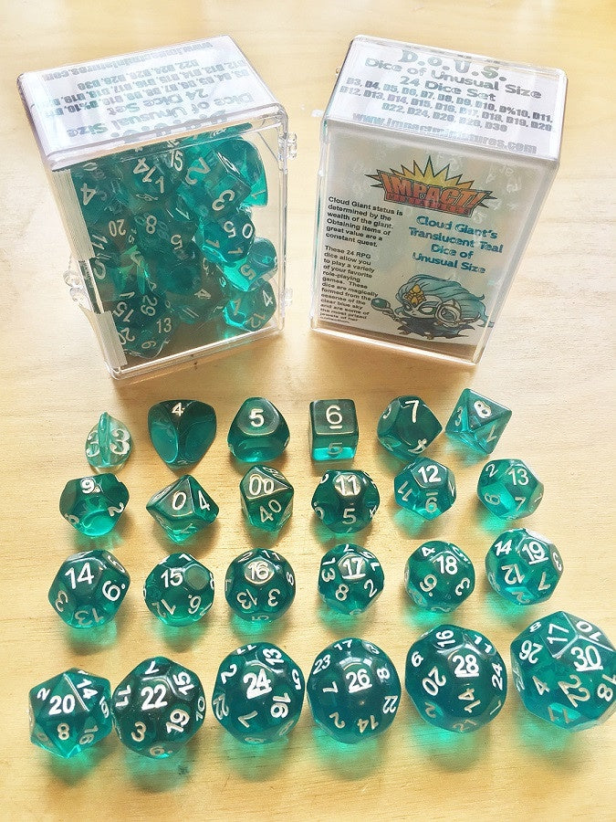 D.O.U.S. (Dice of Unusual Size) D3 to D30 Translucent Teal