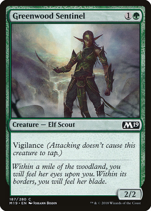 Greenwood Sentinel [Core Set 2019] | Guf