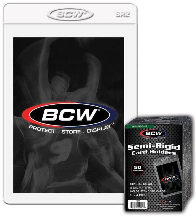 "BCW Semi Rigid Card Holder #2 (3"" x 4"" 1/2) (50 Holders Per Pack) 