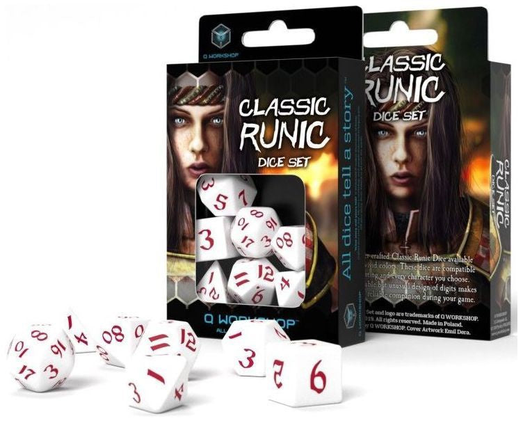 Classic Runic Dice Set - White and Red (set of 7) | Guf