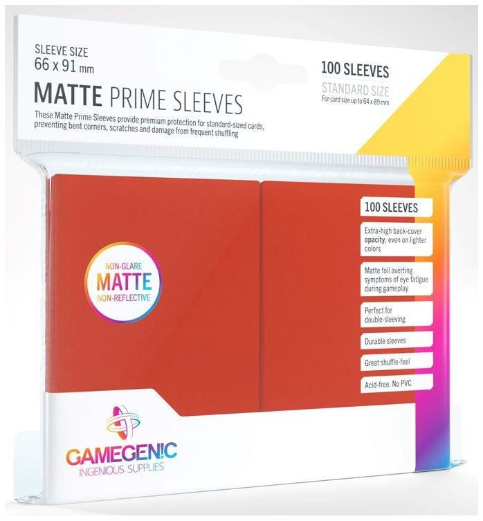Gamegenic Matt Prime Card Sleeves Red (66mm x 91mm) (100 Sleeves Per Pack) | Guf
