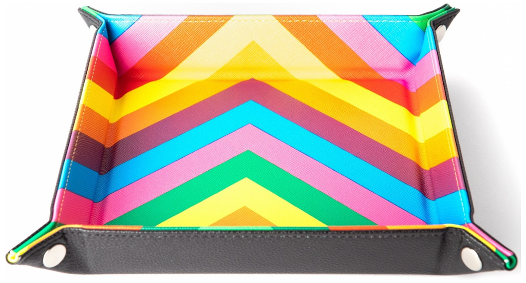 MDG Velvet Folding Dice Tray with Leather Backing - Rainbow