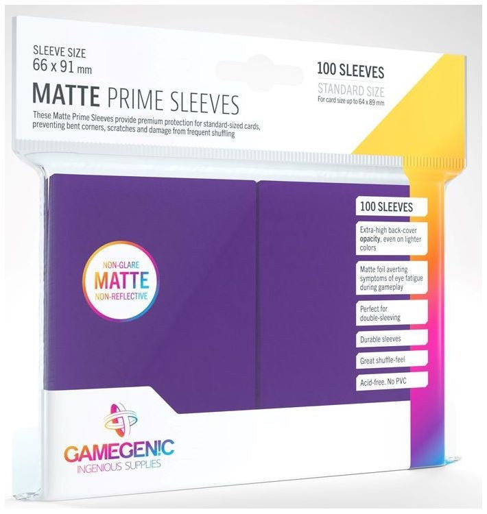 Gamegenic Matt Prime Card Sleeves Purple (66mm x 91mm) (100 Sleeves Per Pack) | Guf