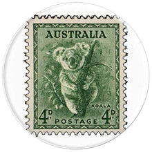 Load image into Gallery viewer, Amazon.com: Australian Koala Stamp 4p Eucalyptus Green - PopSockets Grip and Stand for Phones and Tablets: Cell Phones & Accessories - NJExpat