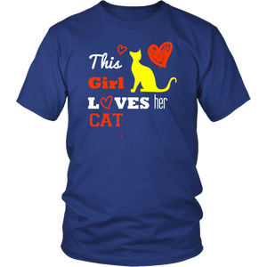 This Girl Loves her Cat T-shirt, hearts gift Tee-shirt
