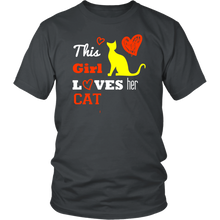 Load image into Gallery viewer, This Girl Loves her Cat T-shirt, hearts gift Tee-shirt
