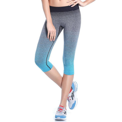 Women's High Waist Yoga Pants Stretch Running Workout Leggings Gym Fitness Tights Athletic Capri Pants Gradient Color blue 3/4
