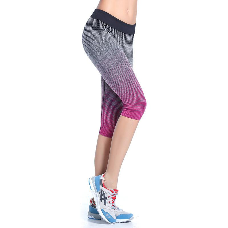 Women's High Waist Yoga Pants Stretch Running Workout Leggings Gym Fitness Tights Athletic Capri Pants Gradient Color rose red