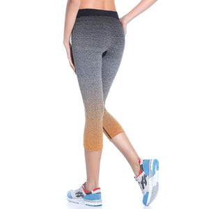 Women's High Waist Yoga Pants Stretch Running Workout Leggings Gym Fitness Tights Athletic Capri Pants Gradient Color orange