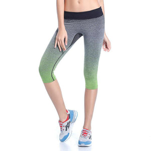 Women's High Waist Yoga Pants Stretch Running Workout Leggings Gym Fitness Tights Athletic Capri Pants Gradient Color green