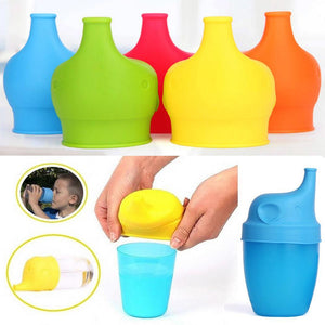 Silicone Elephant Sippy Cup Lid Reusable Cover Spillproof Anti Overflow Baby Child Drink - NJExpat