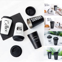 Load image into Gallery viewer, Coffee Travel Takeaway & Lid Mug Original Reusable Stainless Steel Cup With Silicone Lid 14cm Height - NJExpat