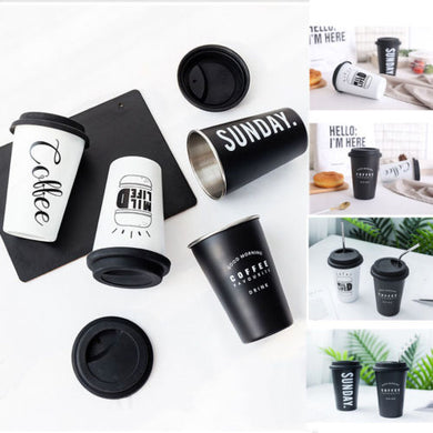 Coffee Travel Takeaway & Lid Mug Original Reusable Stainless Steel Cup With Silicone Lid 14cm Height - NJExpat