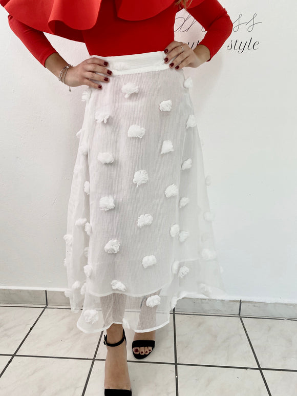 3D FLOWERS WHITE SKIRT