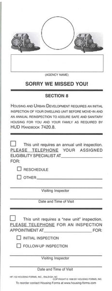 HF-102-2    S8 Unit Inspection Door Hanger (2 Part)