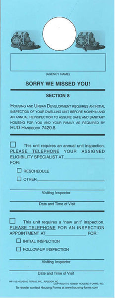 HF-102   S8 Unit Inspection Door Hanger   (1-part)