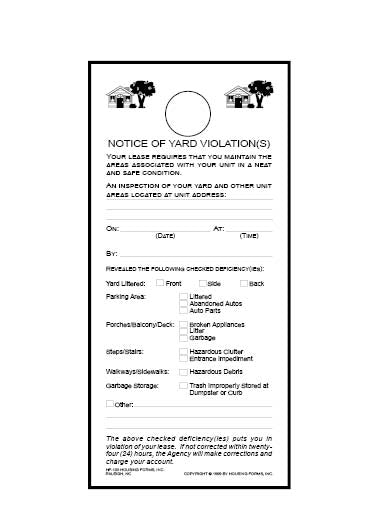 HF-103-2 Notice of Yard Violation Door Hanger (2-part)