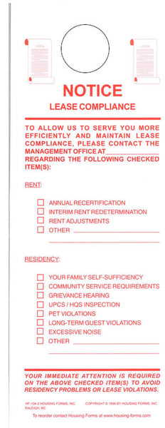 HF-104-2 Notice of Lease Compliance Door Hanger (2-part)
