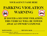 HF-106  Parking Violation Warning Sticker  (yellow)