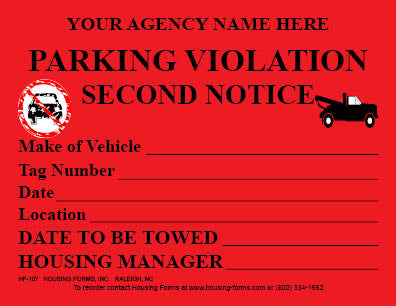 HF-107  Parking Violation Second Notice Sticker  (red)