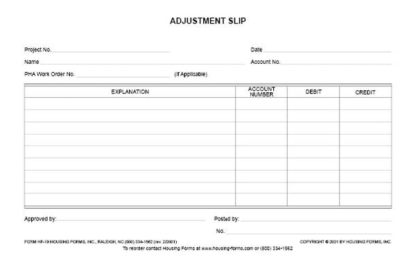 HF-19  adjustment Slip