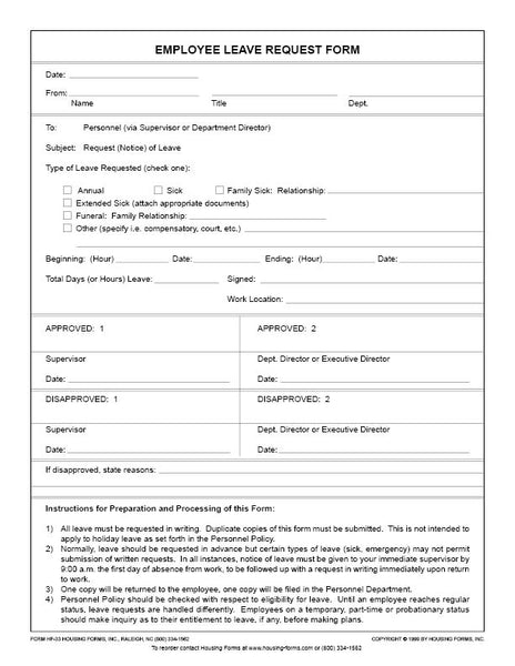 HF-33  Employee Leave Request