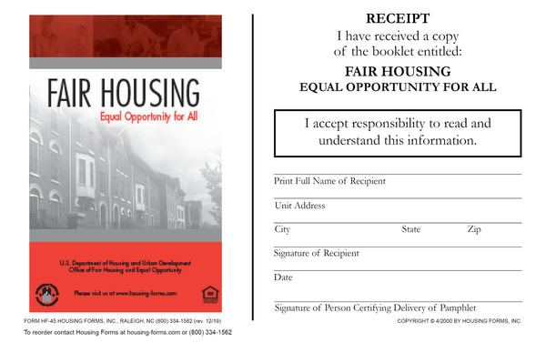 HF-45 Fair Housing Booklet Receipt
