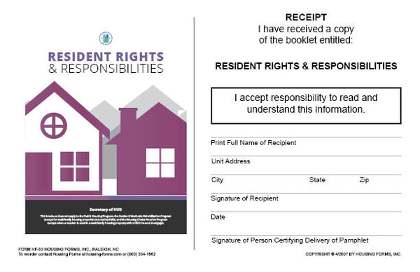 HF-53   Resident Rights and Responsibilities Receipt