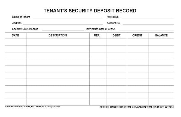 HF-8  Tenant's Security Deposit Record