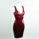 V Neck Latex Pencil Dress