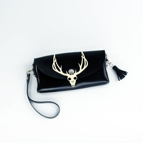 Deer Skull Latex Clutch and Shoulder Purse Bag