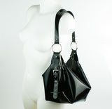 Latex Buckle Slouch Handbag