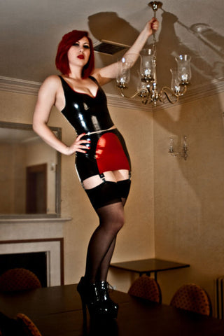 Two Tone 6-Strap Girdle Skirt