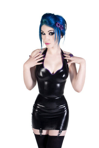 Latex High Waisted Girdle Suspender Skirt
