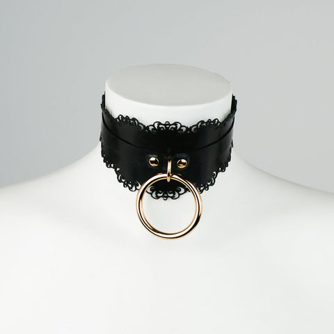 GOLD Edition Latex Lace Shaped O Ring Collar