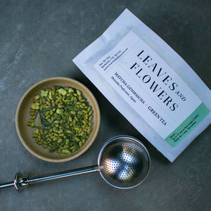 Matcha Genmaicha tea rich in antioxidants, fiber, chlorophyll and vitamins for energy and focus. All natural, organic from Shizuoka Prefecture, Japan.