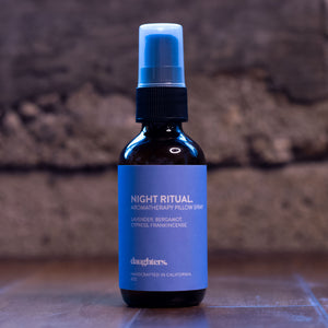 Night Ritual Pillow Spray is a natural sleep aid to soothe anxiety get better sleep. Handmade organic Lavender, Bergamot, Cypress and Frankincense.