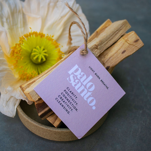 Palo Santo known for healing properties, is used for cleansing energy, restoring peace and creativity. Sustainably sourced, comes in bundles of 5.