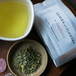 Sleep Tea is herbaceous, soothing and minty blending Chamomile, Skullcap, California Poppy, Catnip, Chrysanthemum, and Lavender. Small batch, organic.