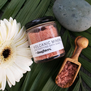 Volcanic Mineral bath soak handmade with all natural ingredients, high in magnesium to help relax your body and destress your mind for better rest.